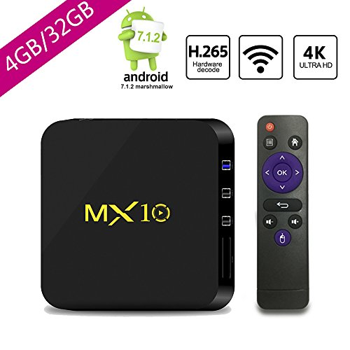 SCSETC Newest Android TV Box DDR4 4G+32GB,4K Android 7.1.2 H.265 64bit Media Streaming Player Smart Box with Wireless, Support Media,music,photo...(Black) by SCS ETC