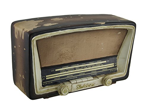 Zeckos Antique Tube Radio Vintage Finish Decorative Coin Bank