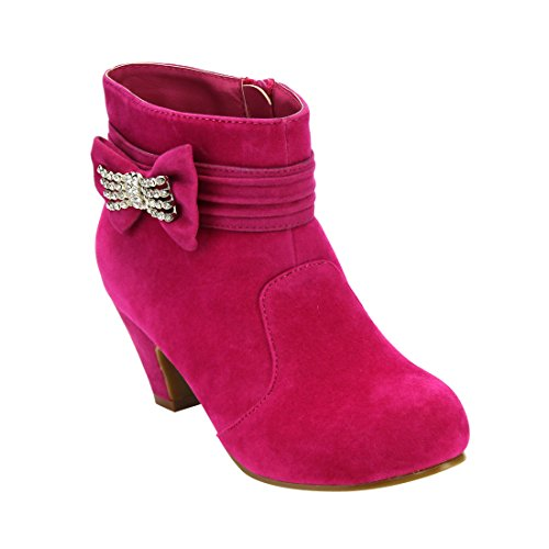 JELLY BEANS GF75 Girl's Bowknot Rhinestones Inside Zip Middle Heel Ankle Booties, Color:FUCHSIA, Size:11 M US Little Kid (Jelly Beans For Kids)