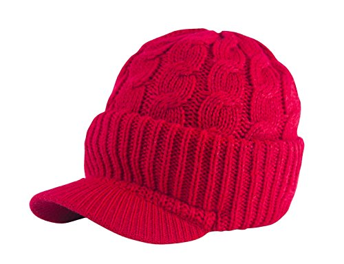 Price comparison product image Urbanhatshop Newsboy Cable Knitted Visor Beanie Bill Winter Warm Hat All Colors (Red)