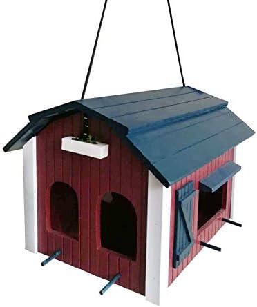 Dehner Natura voederhuis voor wilde vogels Mansarde ca 32 x 22 x 24 cm hout roodblauwwit