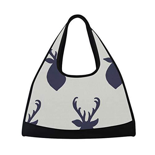 HUVATT Duffel Bags Navy Deer Womens Gym Yoga Bag Fun Tote Beach Bag for Men