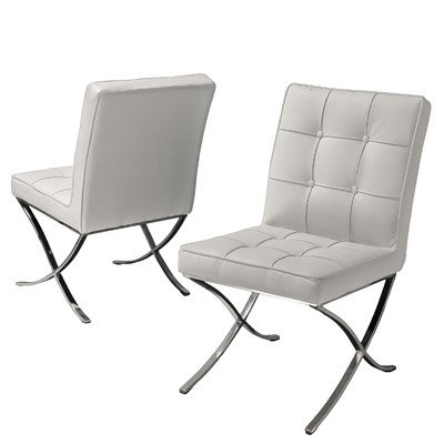 Best Selling Milania Leather Dining Chair, White, Set Of 2 Part 66