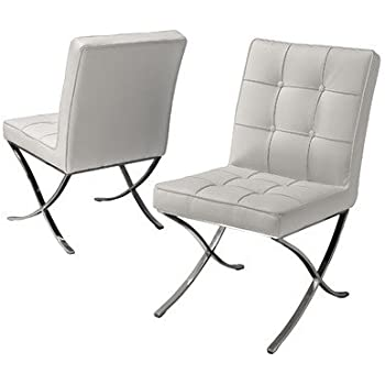 Best Selling Milania Leather Dining Chair White Set of 2  sc 1 st  Amazon.com & Amazon.com - Best Selling Milania Leather Dining Chair White Set ...