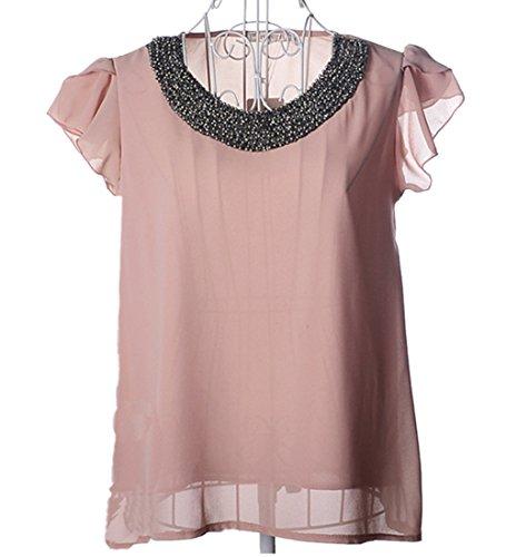 Blouse Embellished Bead (JOYHY Women's Embellished Bead Collar Ruffle Shoulder Tops Shirts Chiffon Blouse (L, Pink))
