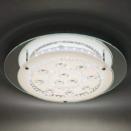 - Horisun 14inch Modern ETL LED Ceiling Light Crystal Flush Mount Light with Glass Shade 1980LM 4000K Daylight White Crystal LED Ceiling Lighting for Livingroom, Bedroom, Dinning Room, Kitchen, Hallway