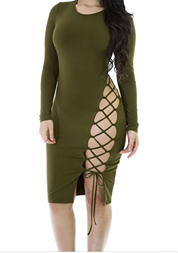 YeeATZ Army Green Laced up Bodycon (Size,L)