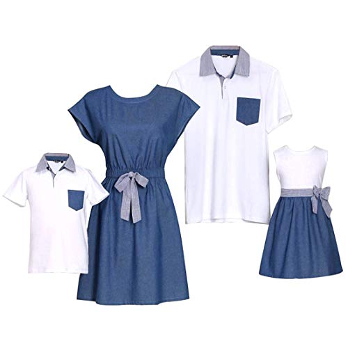 PopReal Short Sleeve Cotton T-Shirt and Bowknot Dress Family Matching Outfits -