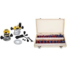 DEWALT DW618PK 12 AMP 2-1/4 HP Plunge- and Fixed-Base Variable-Speed Router Kit with 1/4-Inch and 1/2-Inch Collets & Stalwart Multi-purpose 24-piece Router Bit Set