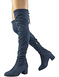 Womens Over The Knee Thigh High Low Block Heel Boots