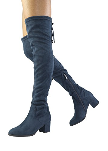 Image of DREAM PAIRS Women's Over The Knee Thigh High Low Block Heel Boots