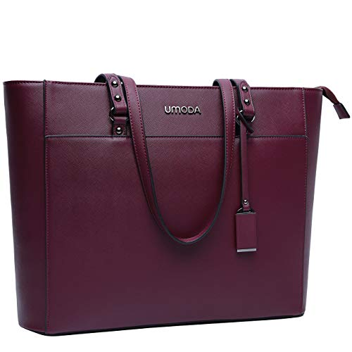 Fashionable Laptop Bags - Laptop Bag for Women,Multi Pocket Work Bag,15.6 Laptop Bag for Business,Dark Purple