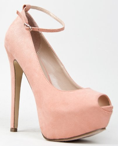 Breckelles JUDY-21 High Heel Stiletto Platform Peep Toe Anke Strap Party PumpJudy-21 Blush 8