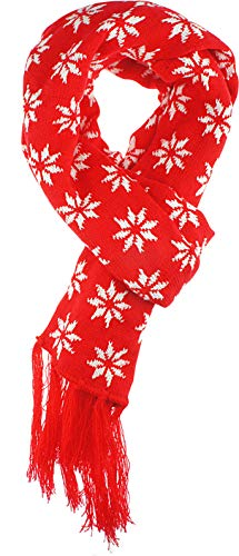 VIVIAN & VINCENT Women's Christmas Xmas Soft Long Warm Winter Knit Scarf P2 Red