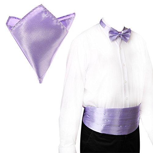 Lilac CellDeal Satin New Cummerbund Bow Italian Set and Tie and Hanky Pvvwrx