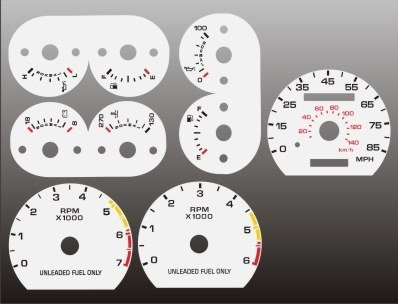 1990-1993 Ford Mustang 85 mph White Face Gauges DD Inc 9093FM211