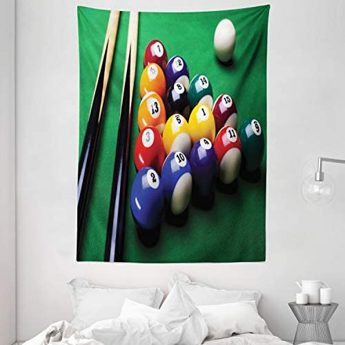 Ambesonne Manly Tapestry, Billiard Pool Balls Arrangement Snooker Contest Beginning Entertainment Game Print, Wall Hanging for Bedroom Living Room Dorm, 60 X 80 , Fern Green