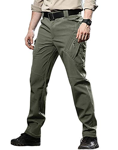 TACVASEN Men's Military Style Ski Trousers Fleece Lined Tactical Water-Resistant Trousers Multi Pockets