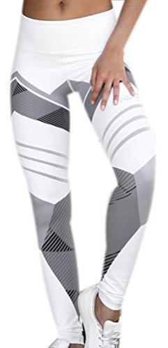 Legging Sport Femme Imprimé Leggings Fitness Leggins Yoga Training Gym Motif Pants Pour Femmes Mode Entraînement Sports Running Streche Pantalon Blanc M
