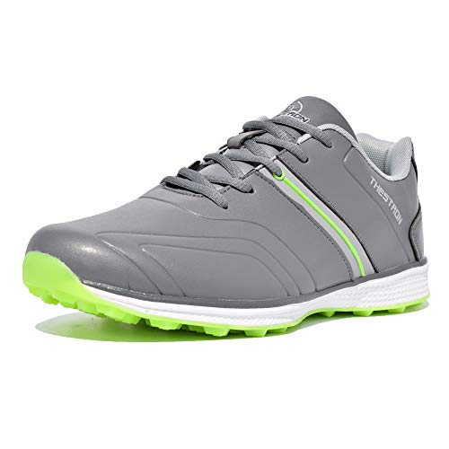 Thestron Men Golf Shoes Spikeless Sport Sneakers Walking Training Shoes ... Grey (Best Spikeless Golf Shoes For Walking)