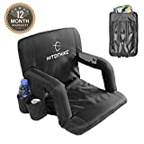 Hitorhike Stadium Seat for Bleachers or Benches Portable Reclining Stadium Seat Chair with Padded Cushion Chair Back and Armrest Support (Black)