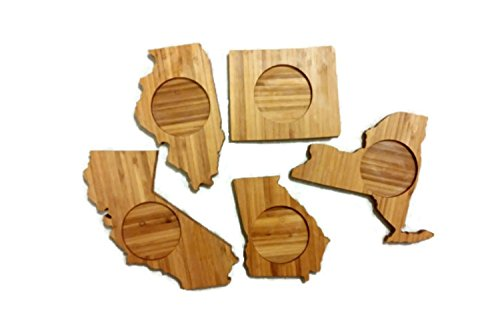 (CREATE YOUR OWN Coasters (set of four), Bamboo State Shape Coasters - Great housewarming, Christmas, Teacher, bridesmaid/groomsman gifts!)