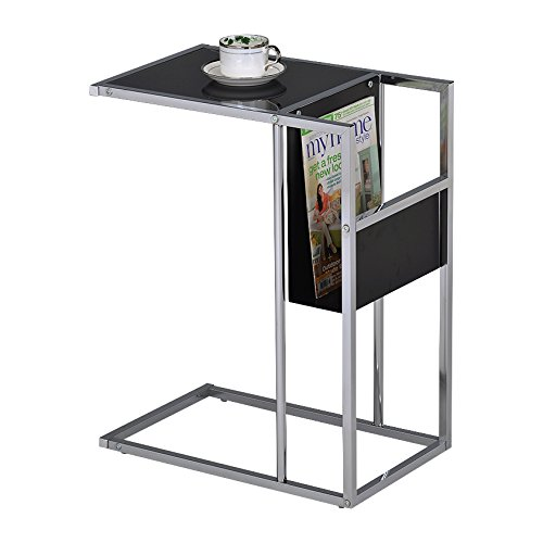 Pilaster Designs - Printed Glass & Chrome Accent Snack Table with Magazine Rack (Black) by Pilaster Designs