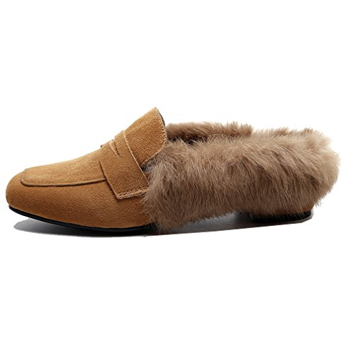 cow Flat Black Split Brown on Loafers Round Fashion ENMAYER with Buckle Outdoor Toe Furry Slip and Womens Slippers Retro Twzqx4g