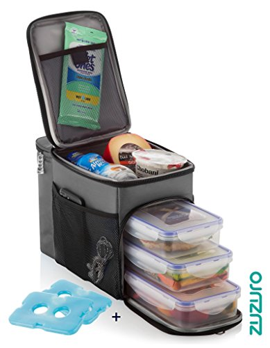 ZUZURO Travel Lunch Bag Insulated cooler Box w/ 3 compartment - Includes 3 Meal Prep Containers - Detachable Shoulder Strap + 2 Ice Packs. Great for Work Office or Travel (Grey)