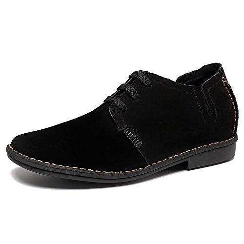 CHAMARIPA Zapatos con Cordones de Cuero Hombre,Negro y Azul - 6,5 cm Más Alto - X58H56 (41, Negro)