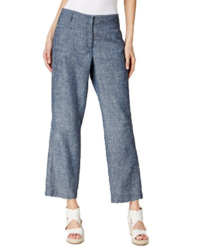 Eileen Fisher Hemp-Organic Cotton Chambray Wide-Leg Ankle Pants (Blue, M) from Eileen Fisher