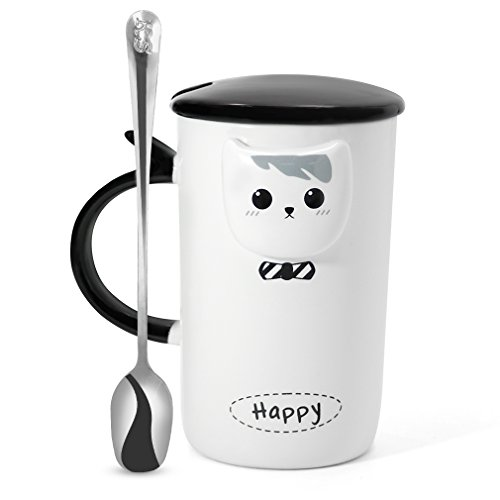 Koolkatkoo Funny Black and White Ceramic Cat Coffee Cups with Lid and Spoon Cute Tea Mug Set for Girls Women Cat Lovers Mom Mug