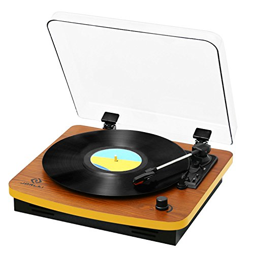 JORLAI 3-Speed Wooden Retro Turntable Belt Driven LP Vinyl Record Player with Built-in Stereo Speakers, Support Vinyl-To-MP3 Recording, Aux Input & RCA Output