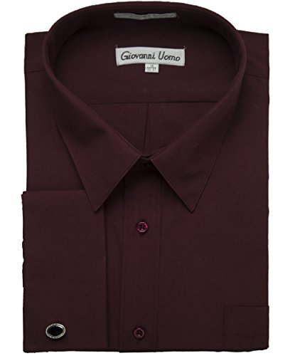 (Gentlemens Collection Men's 1916FC French Cuff Solid Dress Shirt - Burgundy - 20 6-7)