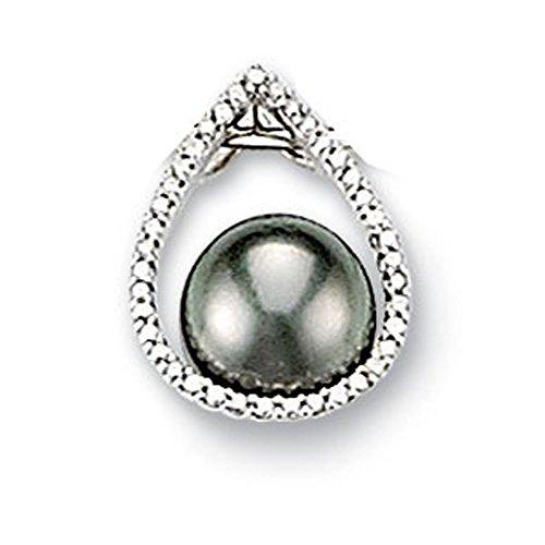 SF Bijoux - Pendentif or gris 750/1000e, diamant et perle de Tahiti (0,10 carat)