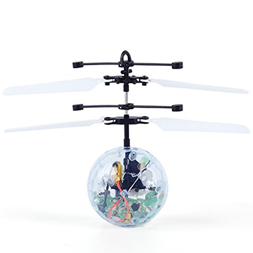 YOMOSI RC Flying Ball,RC Infrared Induction Helicopter Ball Built-in Color Changing LED Lights,with Remote Controller,mini flyer for kids,teenagers (white) - 10 Infrared Controller