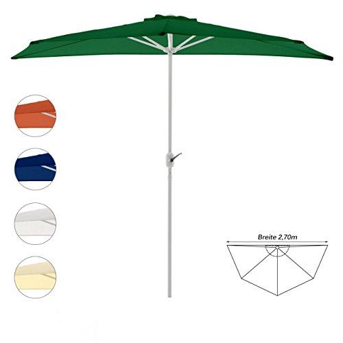 Balkon Sonnenschirm Schirm halbrund Gartenschirm Sonnenschutz 2,7m Sonnenschutz (Grün), Tiefe 140cm, Polyester 160 g/m², Gewicht 5kg