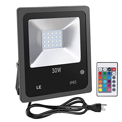 LE Outdoor Led Flood Lights, IP65 Waterproof, 30W RGB, 16 Color Changing, 4 Lighting Modes, Plug in Security Lights with Remote Control, for Home, Backyard, Patio, Garage and More
