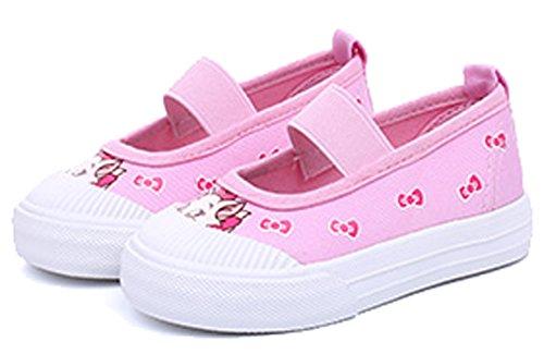 VECJUNIA Kinder Mädchen Jungen Blumen Moccasin Stoff Loafers Elastisches Band Komfort Babyschuhe Pink