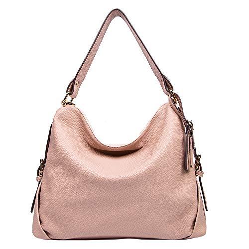 DDDH Women's PU Leather Purses 3 Ways Hobo Handbag Shoulder Tote Top Handle Handbag with Removable Straps(Pink)