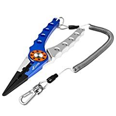 Booms Fishing X1 Aluminum Fishing Pliers Hook Remover Braid Line Cutting and Split Ring with Coiled Lanyard and Sheath