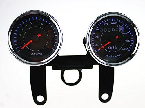 Ambuker 13000RPM 180KMH Black Digital Motorcycle 12V Universal LED Odometer Speedometer Speedo Meter Tacho Tachometer Gauge Yamaha SR XV RX Cafe Racer Honda Cafe Racer Suzuki Kawasaki