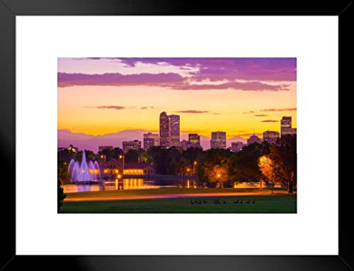 Poster Foundry Sunset City Park Denver Colorado Skyline Colorful Mountains Photo Matted Framed Wall Art Print 26x20 inch