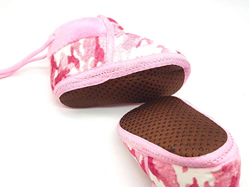 Ssanvi New Born Baby Booties/Shoes Beautiful Design with Perfect Grip & Adjustable Less Baby Slippers, Booties for Pre-Walker and First Walker (Pink)