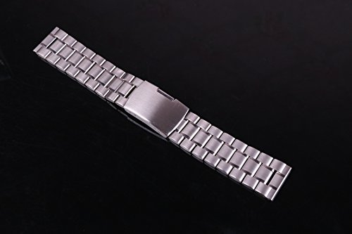 23mm Anti Allergic SS Watch Strap Wristband for Men Silver Solid INOX Steel Brushed Finish Straight End by autulet (Image #1)