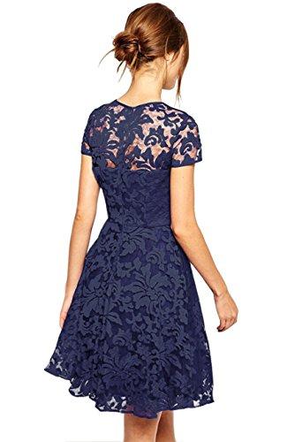 Amoluv Women Round Neck Short Sleeve Pleated Lace Slim Dress Purplish Blue Medium by Amoluv (Image #2)