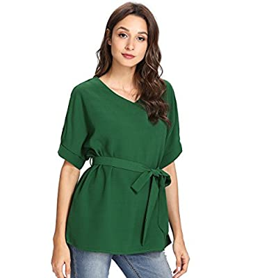 Milumia Women's V Neckline Self Tie Short Sleeve Blouse Tunic Tops at Women's Clothing store