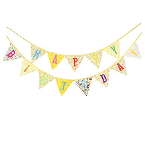 Natsunohi Happy Birthday Fabric Bunting Cotton Banner DIY Party Home Decorative Hanging Ornaments (Yellow Birthday)