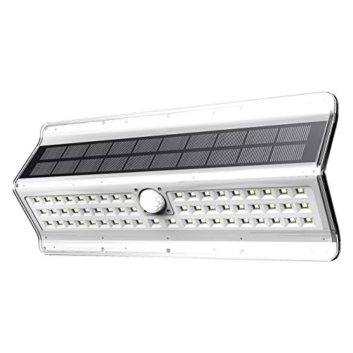 EZBASICS Solar Motion Sensor Light Outdoor, 56 LED, White Shape, 1 - 56 Light One