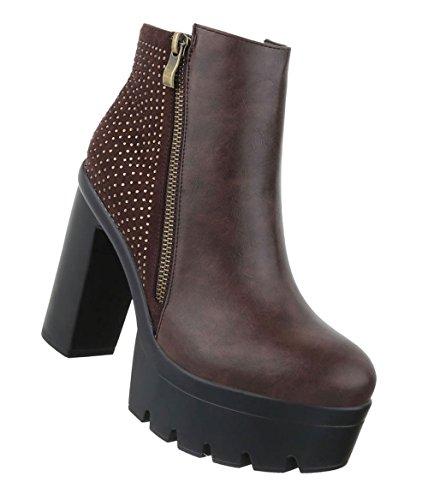 Damen Schuhe Stiefeletten   Gothic High Heels   Plateau Nieten Boots   Sky Heels   Damenschuhe Stiefeletten   Leder-Optik Booties   Schuhcity24 Braun